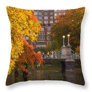 Boston Public Garden Lagoon Bridge Throw Pillow by Joann Vitali