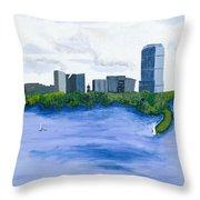 Boston Skyline Throw Pillow by Carmela Cattuti