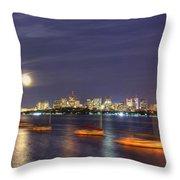 Boston Skyline From Memorial Drive Throw Pillow by Joann Vitali