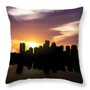 Boston Sunset Skyline  Throw Pillow by Aged Pixel