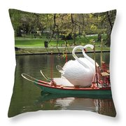 Boston Swan Boats Throw Pillow by Barbara McDevitt
