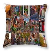 Boston Tourism Collage Throw Pillow by Joann Vitali
