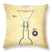 Bottle Neck patent from 1891 - Vintage Throw Pillow by Aged Pixel