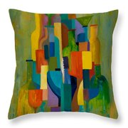 Bottles And Glasses Throw Pillow by Larry Martin