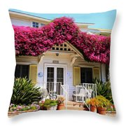 Bougainvillea House Throw Pillow by Cheryl Young