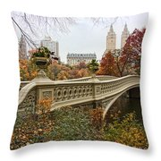 Bow Bridge In Central Park Throw Pillow by June Marie Sobrito