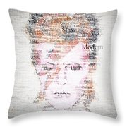 Bowie Typo Throw Pillow by Taylan Soyturk