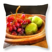 Bowl Of Red Grapes And Pears Throw Pillow by Susan Savad