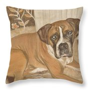 Boxer Dog George Throw Pillow by Faye Giblin