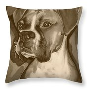 Boxer Dog Sepia Print Throw Pillow by Robyn Saunders