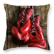 Boxing Gloves - Now retired Throw Pillow by Paul Ward