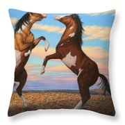 Boxing Horses Throw Pillow by James W Johnson