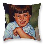 Boy In Blue Shirt Throw Pillow by Kenneth Cobb