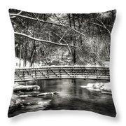 Brainards Bridge After A Snow Storm 3 Throw Pillow by Thomas Young