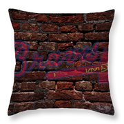 Braves Baseball Graffiti On Brick  Throw Pillow by Movie Poster Prints