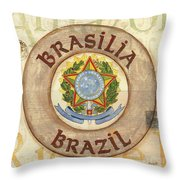 Brazil Coat Of Arms Throw Pillow by Debbie DeWitt