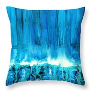 Breakers Off Point Reyes Original Painting Throw Pillow by Sol Luckman
