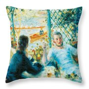 Breakfast By The River Throw Pillow by Pierre-Auguste Renoir