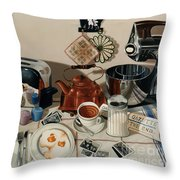 Breakfast With The Beatles - Skewed Perspective Series Throw Pillow by Larry Preston