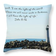 Breakwater Lighthouse Santa Cruz With Verse  Throw Pillow by Barbara Snyder