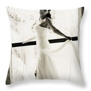 Bride At The Balcony. Black And White Throw Pillow by Jenny Rainbow