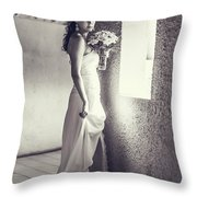 Bride at the Window. Black and White Throw Pillow by Jenny Rainbow