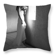 Bride At The Window I. Black And White Throw Pillow by Jenny Rainbow