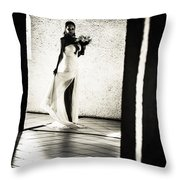 Bride. Black And White Throw Pillow by Jenny Rainbow