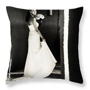 Bride I. Black And White Throw Pillow by Jenny Rainbow
