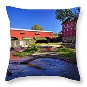 Bridgeton Covered Bridge 4 Throw Pillow by Marty Koch