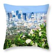 Brisbane Cbd Throw Pillow by Peta Thames