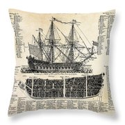BRITISH SHIPS of WAR  1728 Throw Pillow by Daniel Hagerman