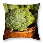 Broccoli In Baskets Throw Pillow by Teri Virbickis
