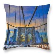 Brooklyn Bridge At Dusk Throw Pillow by Randy Aveille