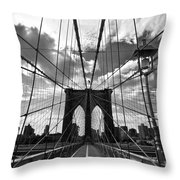 Brooklyn Bridge Throw Pillow by Delphimages Photo Creations