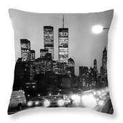 Brooklyn Bridge Traffic II Dusk 1980s Throw Pillow by Gary Eason