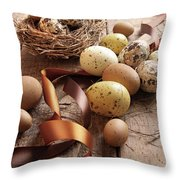 Brown And Yellow Eggs With Ribbons For Easter Throw Pillow by Sandra Cunningham