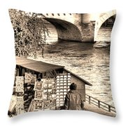Browsing The Outdoor Bookseller  Throw Pillow by Olivier Le Queinec