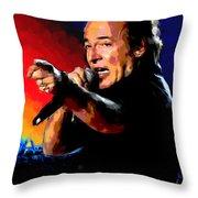Bruce Springsteen Throw Pillow by Allen Glass