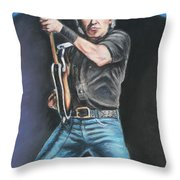 Bruce Springsteen  Throw Pillow by Melinda Saminski