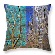 Bryant Park Throw Pillow by Mariola Bitner