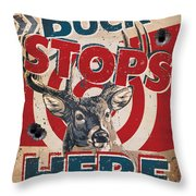 Buck Stops Here Sign Throw Pillow by JQ Licensing