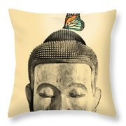 Buddha And Tranquility Throw Pillow by Budi Kwan