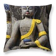 Buddha Figure In Kathmandu Nepal Throw Pillow by Robert Preston
