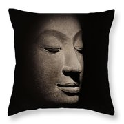 Buddha Head From The Early Ayutthaya Period Throw Pillow by Siamese School
