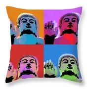 Buddha Pop Art - 4 Panels Throw Pillow by Jean luc Comperat