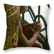 Buddhist Monk Leaning Against A Pillar Sule Pagoda Central Yangon Myanar Throw Pillow by Ralph A  Ledergerber-Photography