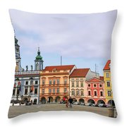 Budweis - Namesti Premysla Otakara II Throw Pillow by Christine Till