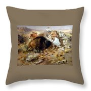 Buffalo Hunt Throw Pillow by Charles Russell