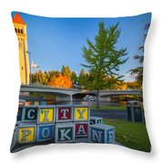 Building The City Throw Pillow by Inge Johnsson